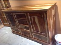 Dining table and chairs, side cabinet and coffee table , lamp table all matching