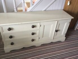 PAINTED PINE CHEST OF DRAWERS/CUPBOARD