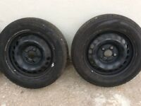 Vw t5 steel wheels for sales with high line wheel trims.