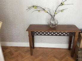 Elegant warm pine Italian style side table with metal inlay