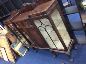 Gothic 1930s Glazed Side Cabinet : Free Glasgow Delivery
