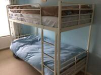 IKEA SVARTA bunk beds with mattresses, duvets, pillows and bed linen