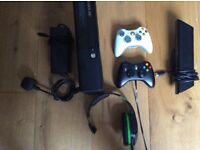Xbox 360 250gb with 2 controllers, headset, 3 games and damaged but useable Kinect.