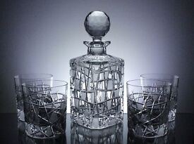 Crystal Whiskey Set Decanter & 4 Whisky Tumblers Hand Cut Lead Gift Box 24% PbO