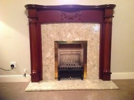 Mahogany fire surround.