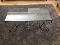 Matching black wrought iron and glass coffee table,side table and floor light - Marks and Spencer's