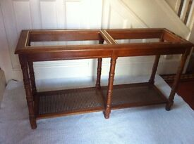 Long Vintage Hall Console Side Table in Need of New Glass and TLC / Can Deliver