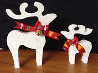 christmas star gazing reindeer decorations mother baby white glitter gold bells red ribbon