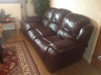 Harvey,s Leather Sofa 3 Seater with Recliner on both side just £50