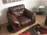 LEATHER SUITE,with footstool.(GLASGOW)