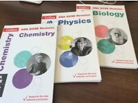 GCSE all in one revision and practice books for chemistry, physics and biology for AQA