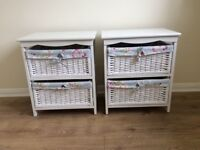 Two white wooden bedside cabinets for sale