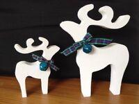 christmas star gazing reindeer decorations mother baby white stipple blue bells tartan ribbon