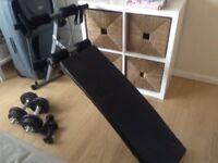 New folding exercise bench with new iron Dumbbells