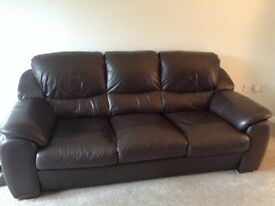 Dark brown leather 3 seater sofa and matching 2 seater sofa