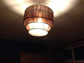 Ceiling light shade in chocolate brown, sheer fabric, tiered, excellent.