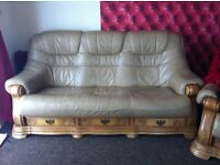 Cream leather 3 seater sofa and matching armchair
