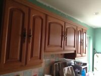 Kitchen Units with solid oak doors and drawer fronts with cornices