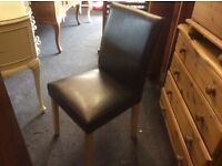 Set of 4 faux leather dining chairs