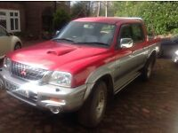Mitsubushi l200 animal diesel double cab 2002/52 air con spares or repair.