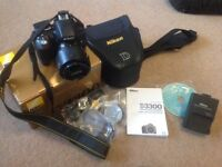 Nikon D3300 camera with 18-55 AF-P lens low shutter count and bag