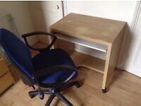 Fabric Swivel Office Chair PLUS free desk