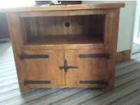 TV wooden cabinet. With metal hinges on door, room for DVD etc