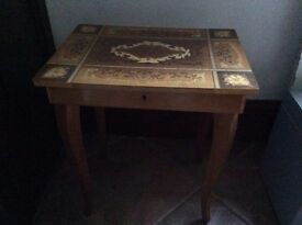 1950s italianate inlaid wood sowing box/table