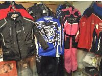 SELECTION OF MOTO X CLOTHING, SUITS, JACKETS AND SAFETY GEAR
