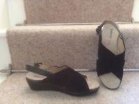 Ladies GEOX black suede wedge heel sandals size 3.