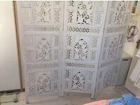 Rattan style white Room Divider.