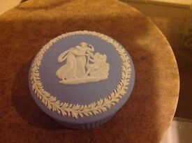 Small traditional pale blue Wedgewood trinket pot