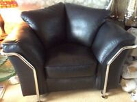 Black leather sofa and 2 chairs for sale Quality suite very expensive new Great condition