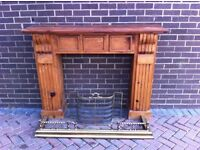 Wooden Fire Surround, Fender & FIre Guard for sale