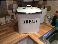 Old fashioned bread bin enamel white and navy