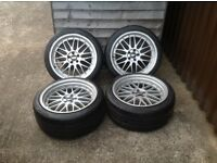 "18"" STAGGERED BBS LM WHEELS AND TYRES IN 5x100 FITMENT(GOLF,BORA,POLO,LEON,TOLEDO,FABIA,SUBARU,GTTDI"