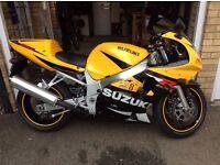 Suzuki k1 gsxr 600 in rare yellow and black low mileage super bike.