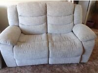 2 seater electric recliner sofa silver grey material oak furniture land 10 months old vgc