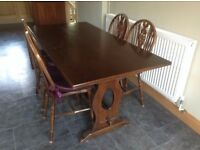 Refectory dining table, four chairs, Welsh Dresser, Corner Cupboard