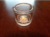 Glass candle holder. LOVE design. Brand new.