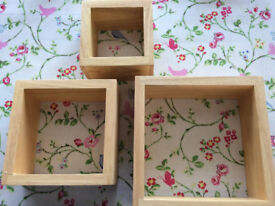 Brand new set of 3 square beech display shelves from Next, boxed and unused