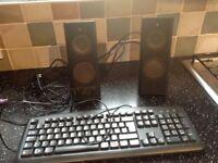 Logitech X-140 multimedia speakers. Pc, cd, MP3, DVD, or games. Free keyboard