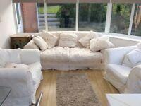 Large cream sofa Fleur-de-Lys with feather cushions