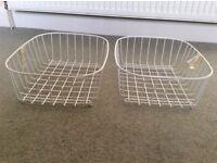 White wire baskets for kitchen sink