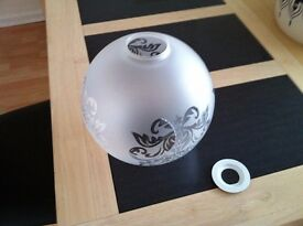 Etched glass globe lightshade