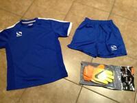 Children's football kit and gloves