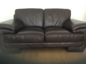 TWO AND THREE SEATER DARK BROWN LEATHER SOFAS