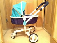 Silver Cross 3 in 1'surf' dolls pram with adjustable positions, box, excellent