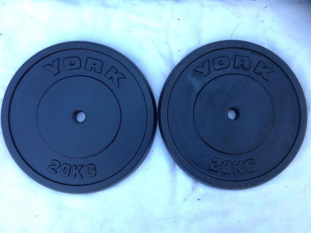 2 x 20kg York (thin) Standard Cast Iron Weights