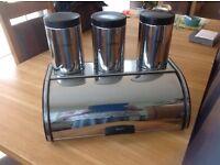 Bread bin plus tea, coffee, sugar canisters, Brabantia plus free hand held Hoover